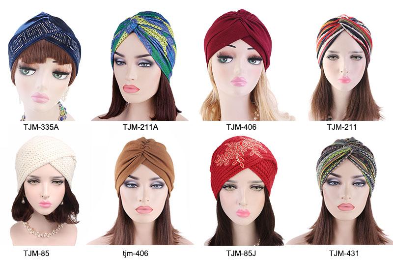 New fashion African pattern twist turban head wrap head scarf night sleep cap indian muslim women hair bonnet TJM-445