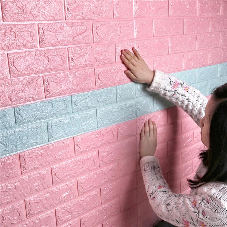 Pink White Pe Wall Panels 3d Brick Wallpaper 3d Foam Wall ...
