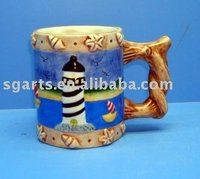 Ceramic Souvenir cup,W/lighthouse & shell