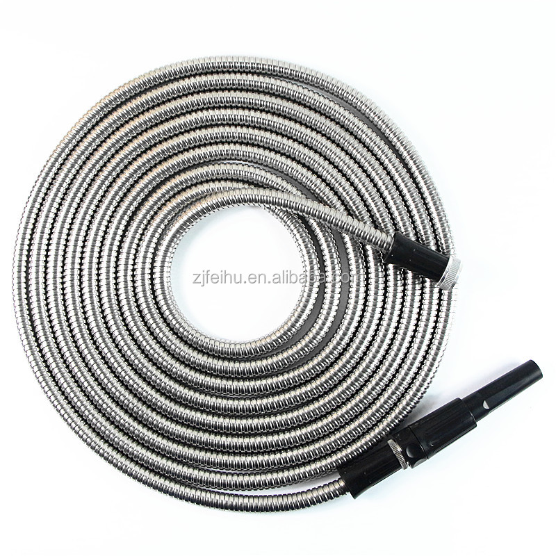 Amazon new design Stainless Steel expandable Garden Hose kink free Solid Brass Watering metal garden hose