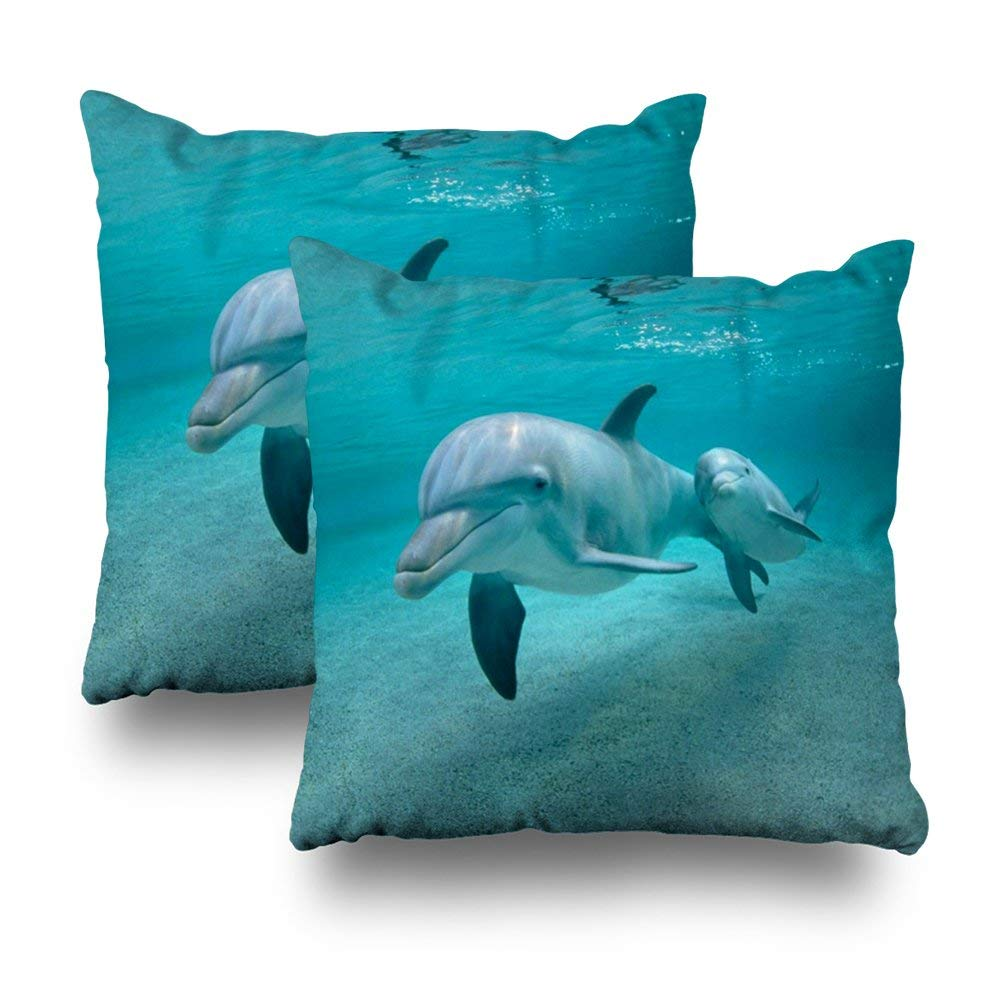 "Soopat Decorative Pillow Cover Pack of 2, 18""X18"" Two Sides Printed Dolphin Calf Pillow Throw Pillow Cases Decorative Home Decor Indoor Nice Gift Kitchen Garden Sofa Bedroom Car Living Room"