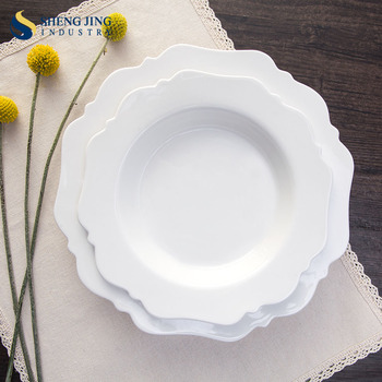 Custom Flower Shape Ceramic Dinner Plates Deep Round Plate For Wedding/ Party/ Theme Restaurant & Custom Flower Shape Ceramic Dinner Plates Deep Round Plate For ...
