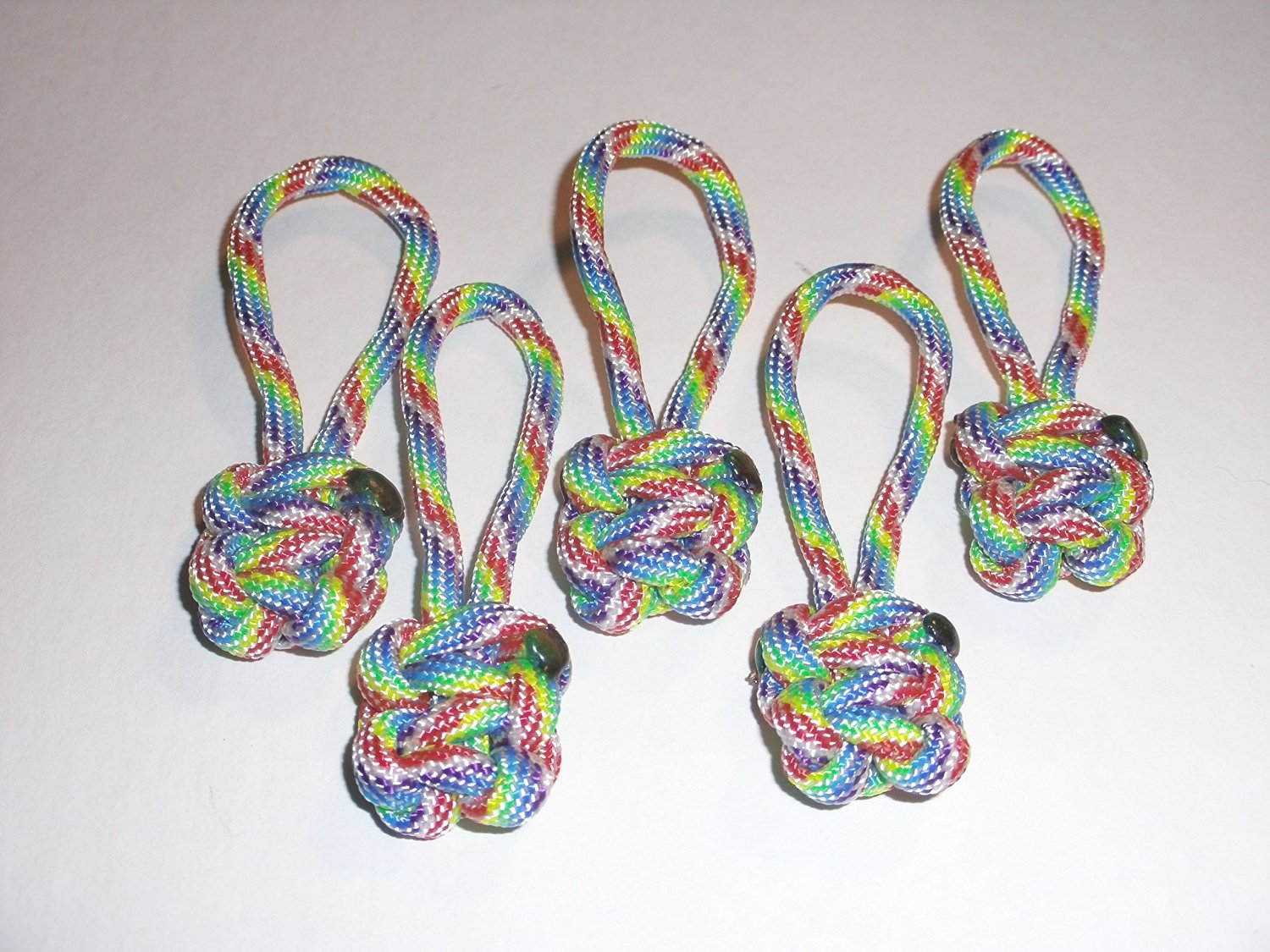RedVex Paracord Zipper Pulls / Lanyards - Lot of 5 - ~2.5 - Tie Die Rainbow