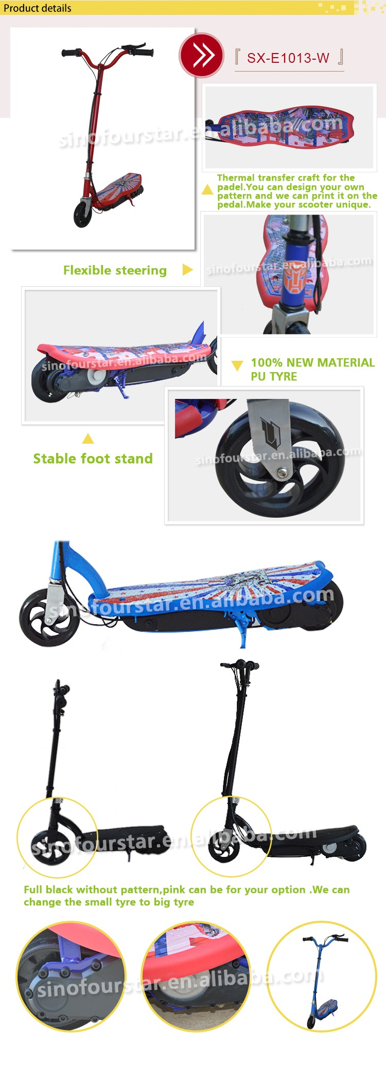 Professional electric scooter with front basket with pedals