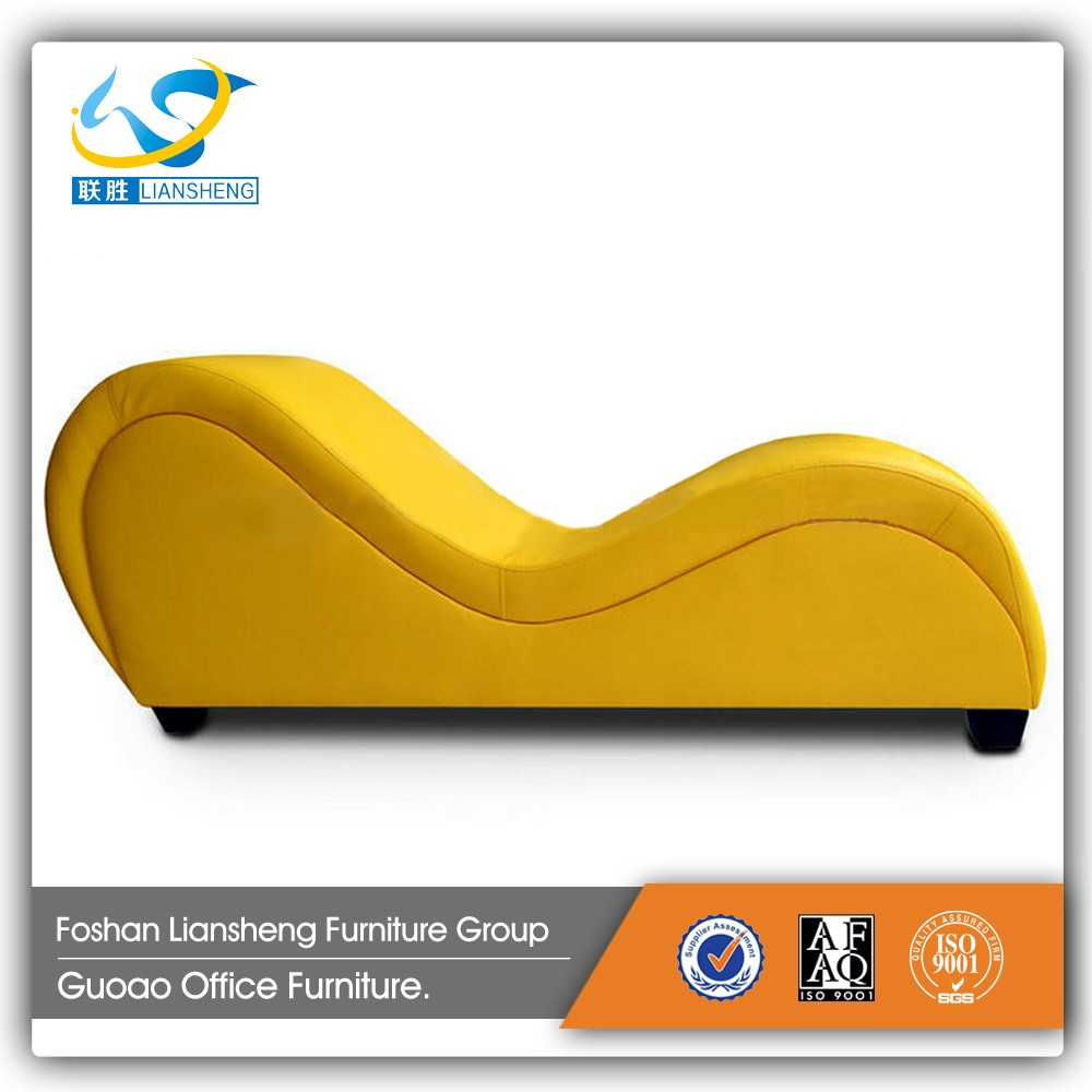Modern custom yellow leather hotel love sex sofa make love chair for living room/bedroom GAS600-1