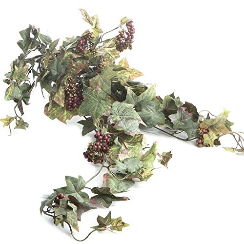 Factory Direct Craft Artificial Cascading Grape Leaf and Burgundy Berry Cluster Bush for Centerpieces and Arrangements