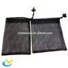 Wholesale recycled washing black small nylon mesh drawstring pouch bag cord