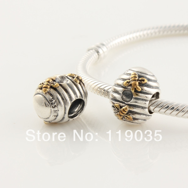 S925 Sterling Silver Screw Beehive Charm Bead Fit European Charm Jewelry Bracelets Necklaces & Pendants