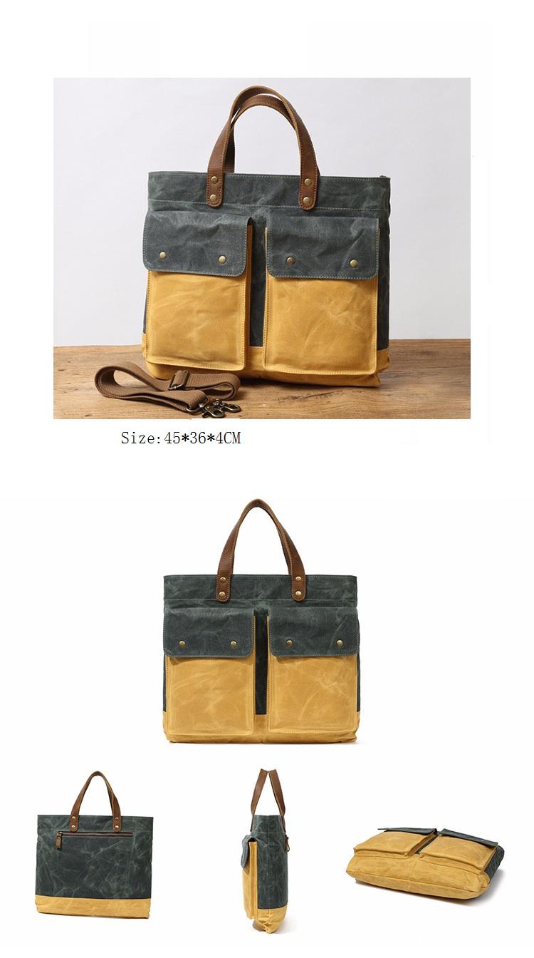Europe designer vintage water proof waxed canvas unisex laptop briefcase shoulder messenger bag with leather trim