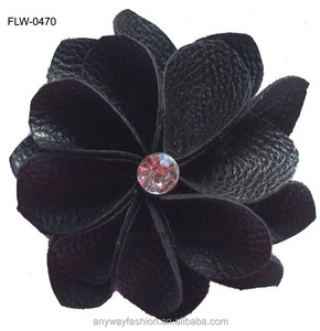 Black PU leather flower with crystal beads decorated