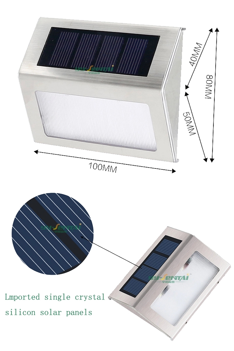 Security night mounted stainless steel lights ip44 0.2w Motion Sensor energy outdoor powered led solar wall light