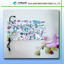 digital printed glasses bag, leather jewelry pouch