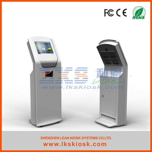 free standing information kiosk with barcode scanner and touchscreen