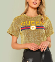 Custom graphic printing golden glitter t shirt for women New design loose shiny party t-shirt