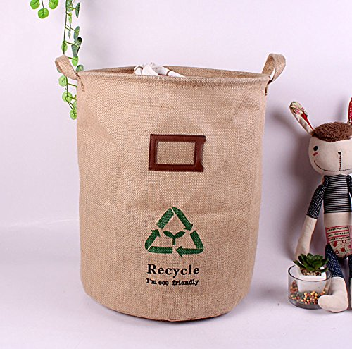 GreenForest Collapsible Storage bucket Retro Vintage Jute Linen Burlap Round Storage with Green Recycle Design,13.4*16.9 Inches