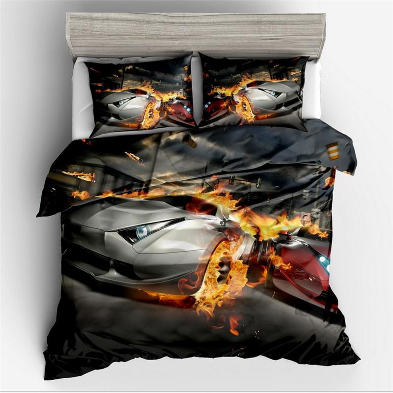 Sports Car Design Kids Bedding Set Queen Size 3d Sports Car Duvet