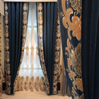 Good quality heavy weight soft hand feeling silk velvet floral embroidery curtain fabric for living room window