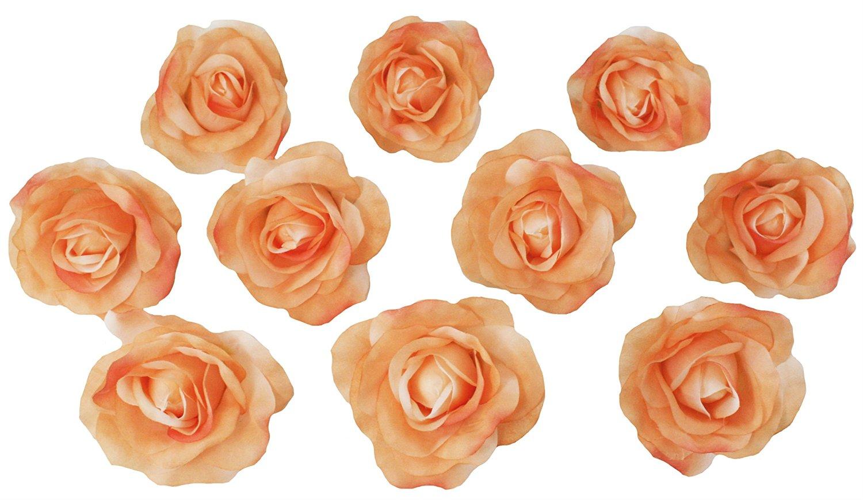 Buy 10 peach rose heads silk flower weddingreception table 10 peach rose heads silk flower weddingreception table decorations bulk silk flowers large izmirmasajfo