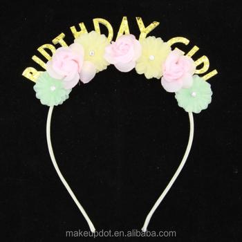 Fashion Women Girls Hairband Happy BIRTHDAY Party Hair band Flower Headband  Tiara Headwear Ornament Hair Accessories 2a8586bf763