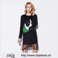New Sequins Puppy Patch Pattern Stitching t-Shirt Dress Mesh Patchwork Casual Women Dresses