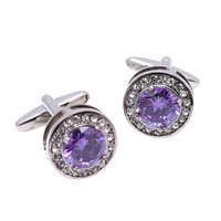 High-end Diamond Purple Round Fine Drill Delicate Men's and Women's Shirts Romantic Cuff Links Supplier