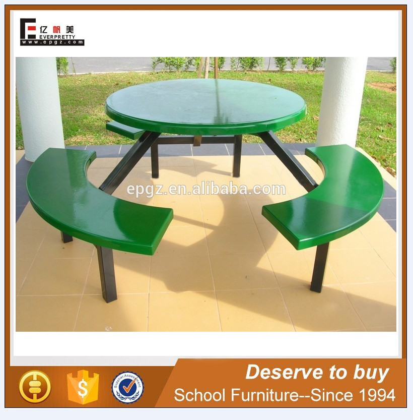 Outdoor Camping Table With Benches Metal Connected Dining Chairs Picnic Set
