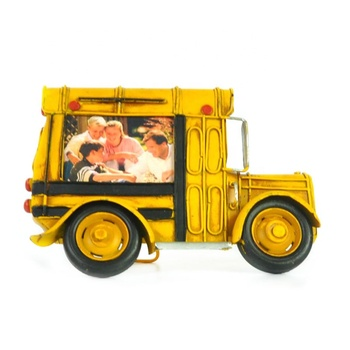 Retro Photo Frame School Bus Model Metal Vintage Ornaments Home Decoration Accessories Photograph Office Living Room Decoration