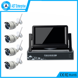 1080P 4CH NVR Kit with 7 inch Monitor Home Security CCTV IP Wireless Camera System