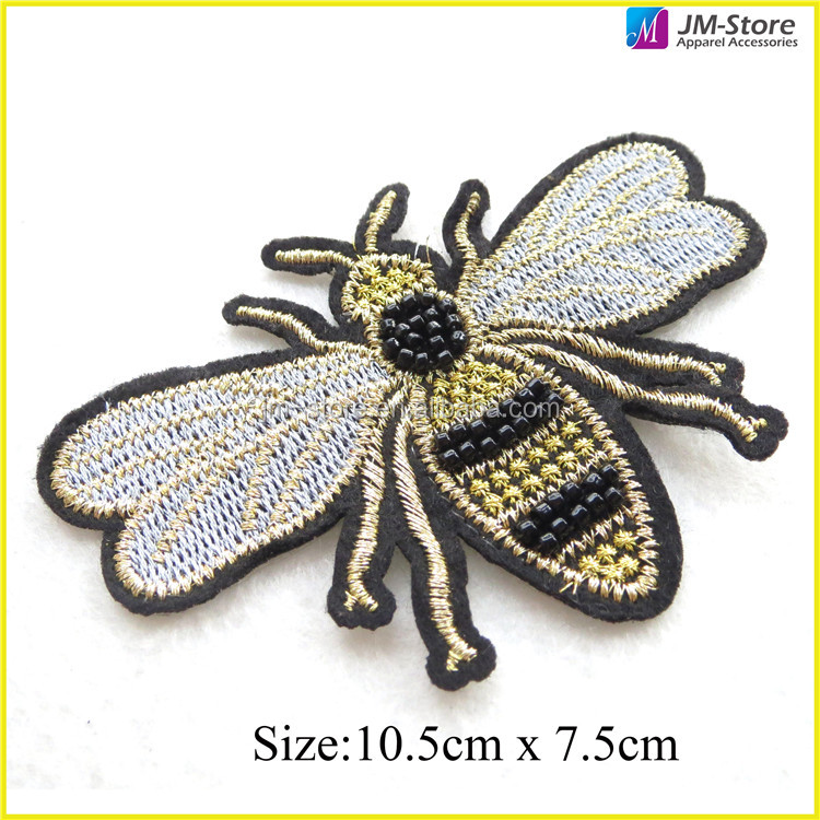 Popular Sewing Bee Embroidery Applique Sequin Rhinestone Beads Patch For Garments Clothing