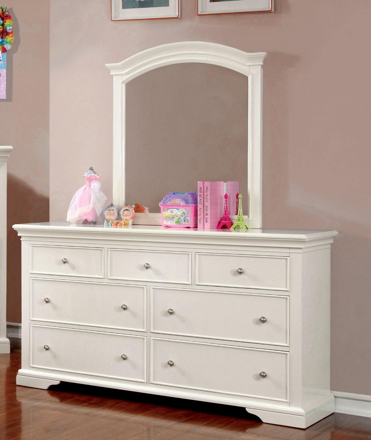 Furniture of America Maggie Transitional Youth Dresser and Mirror, White