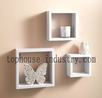 Modern living room furniture 3pcs decorative grid white cube MDF wooden wall shelf