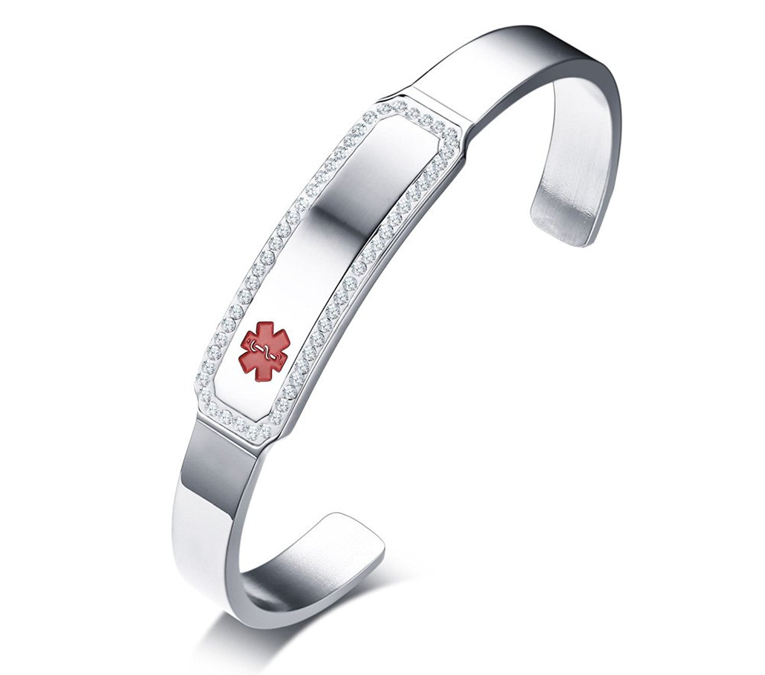 Custom Free Engraving- Fashion Stainless Steel Crystal Medical Alert ID Open Cuff Bangle Bracelets for Women Girl