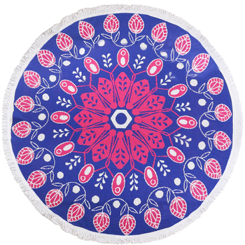 Indian Style Red And Blue Flower Round Size Beach Towels Blanket