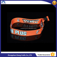 Promotional Fabric Printable Event Wristband With Snap Closure Permanent Lock For Festival