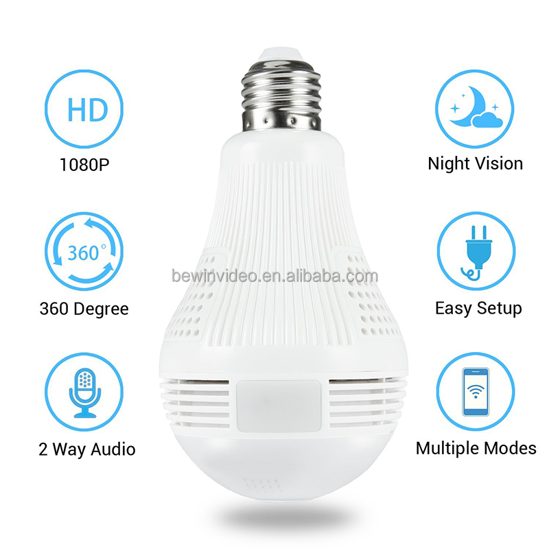 360 Wide Angle IP Camera with Audio - IP Camera Video Storage - Bulb Camea Wirelss 960P for Home