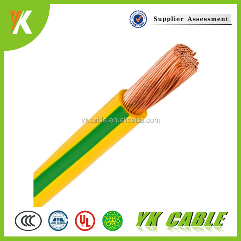 Yellow and green PVC insulation single core earth grounding cable 10mm 25mm