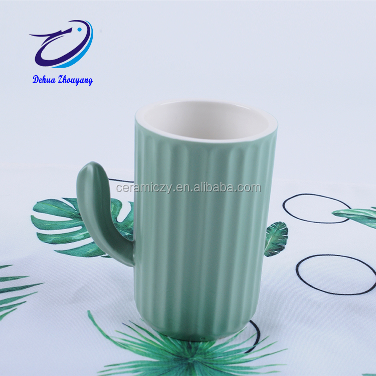 Dehua Green Cactus Ceramic Mug Coffee Milk Tea Mug With Handle Water Drinking Mug