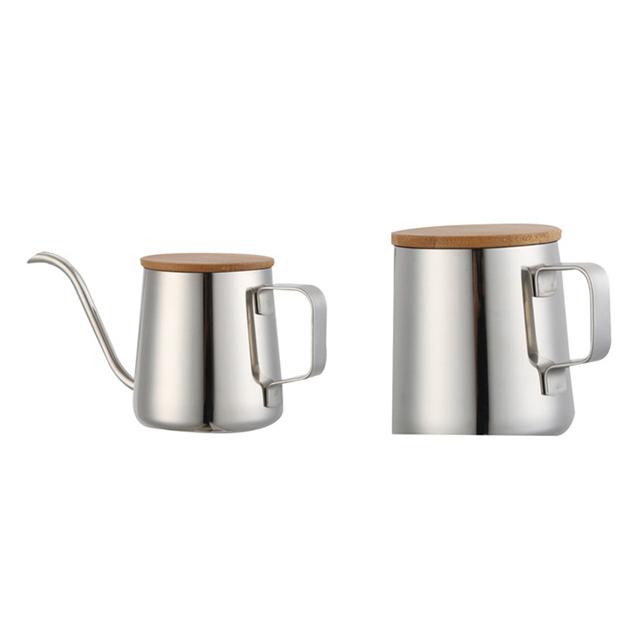 350 Ml Lange Smalle Uitloop Koffie Pot Zwanenhals Waterkoker Rvs Hand Drip Ketel Giet Over Koffie En Thee Pot Met Houten Buy Koffie Pot,Roestvrij