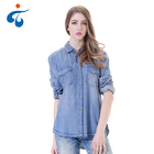 Optional size long sleeve blue model casual denim lady's woven shirts for women