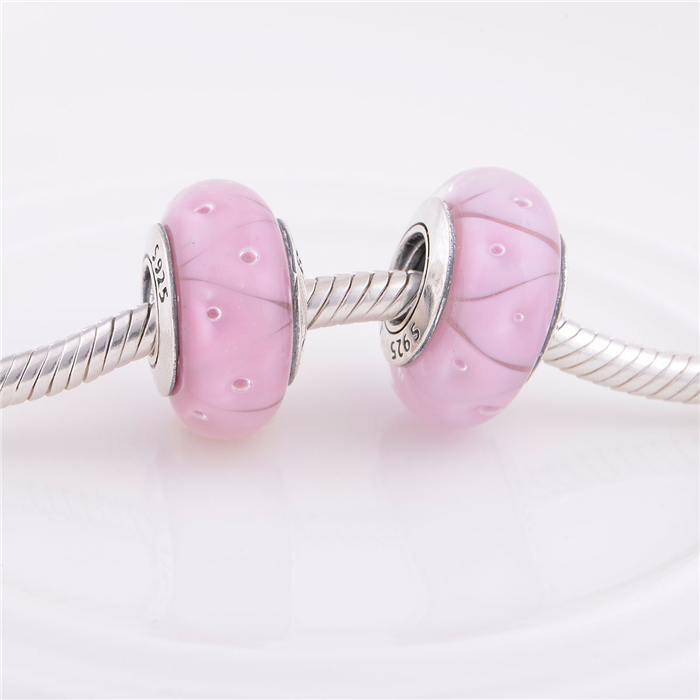 Authentic 925 Sterling Silver Core Pink Murano Glass Charm Bead Jewelry Findings, Fits Pandora Bracelet DIY Making 14