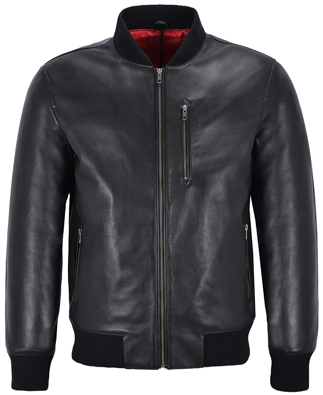Smart Range New 70's Men's Retro Bomber Black Front Straight Zip Classic Real Leather Jacket