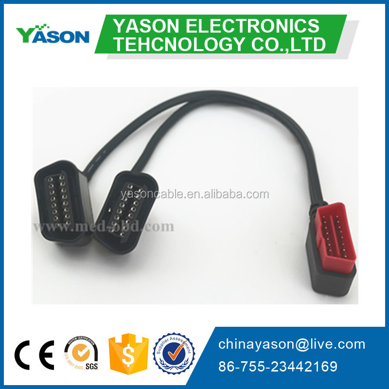 OBD2 Splitter Y Cable, right-angle J1962M to 2 J1962F, Y Cable, 1ft