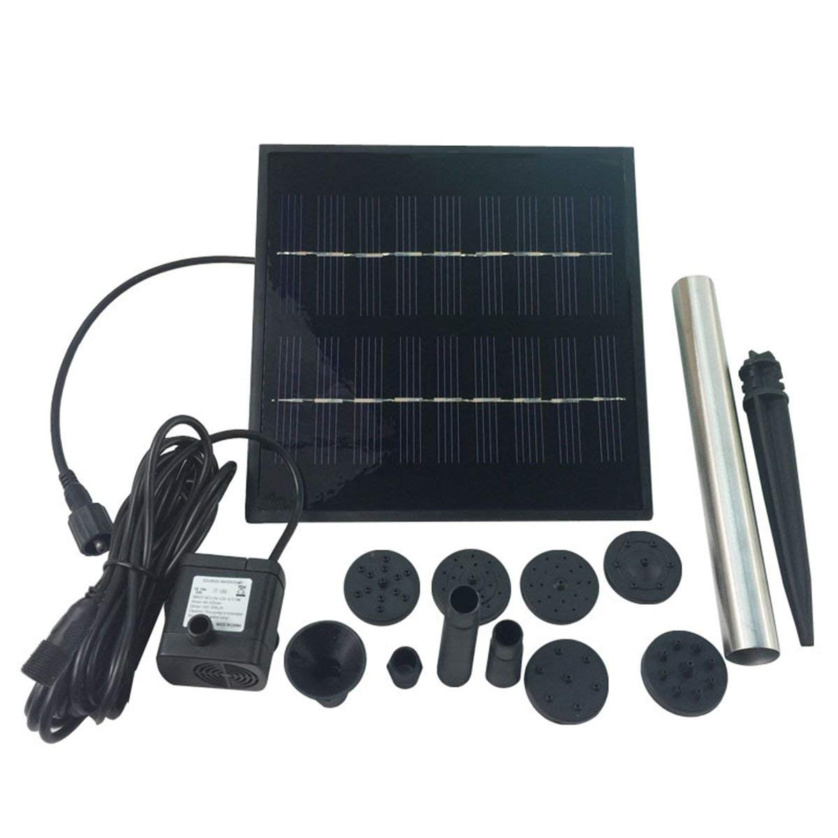 OUNONA Solar Water Pump Outdoor Watering Submersible Water Fountain for Pond Pool Aquarium Fountains Spout Garden Patio 1.8 W