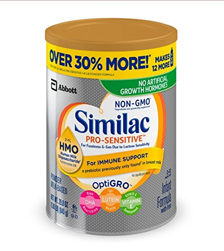 Similac Pro-Sensitive Non-GMO Infant Formula with Iron, with 2'-FL HMO, For Immune Support, Baby Formula, Powder, 29.8 Ounce /1.86 LB, Pack of 4
