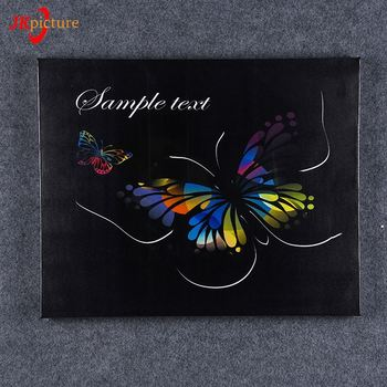 Black Background Colorful Butterfly Paintings Living Room Wall Decor On Canvas
