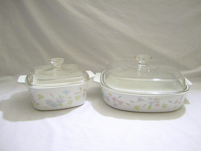 "4 Piece Set - Vintage Corning Ware "" Pastel Bouquet "" 1.5 & 2.5 Liter Covered Casserole Baking Dish w/ Lids"