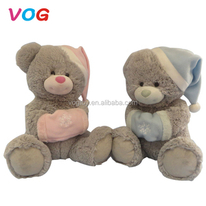 2018 promotional customized lovely teddy bear animals stuffed baby toy with cap and glove Christmas plush toys