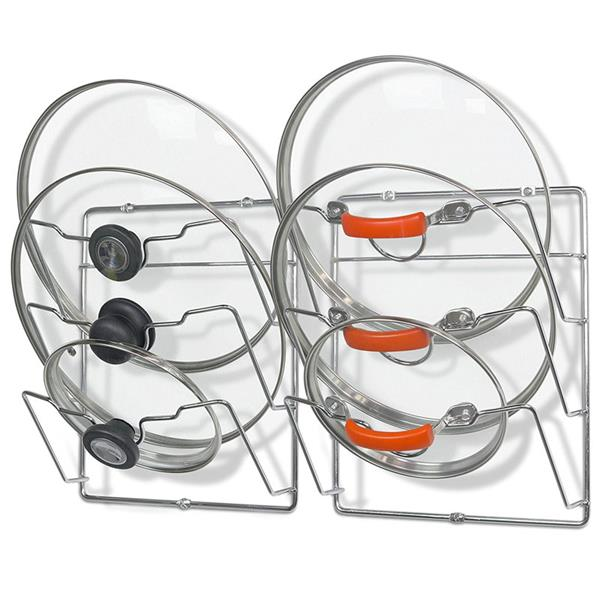 Set of 2 Kitchen Cabinet Pantry Chrome Wire Metal Wall Mounted Pot Lid Organizer Rack