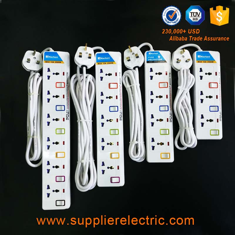 Wholesale Cheap Price 4 Way Universal Electrical Extension Socket with Fuse