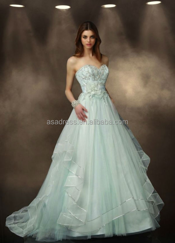 Sweetheart Neck Beaded Tulle Beach Bridal Dress Light Green Wedding Gowns 2017 Blue